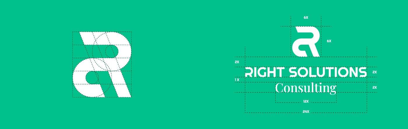 RIght Solutions Consulting Logo Griglia e Costruzione Geometrica